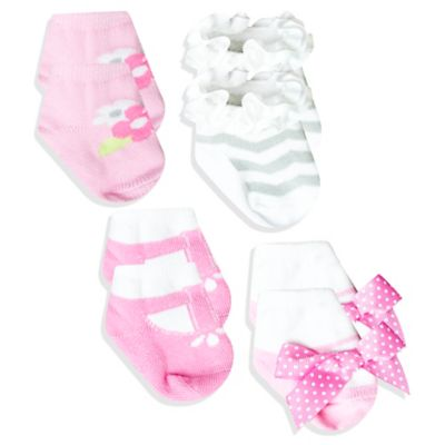AD Sutton 4-Pair Chevron Sock Set in Pink/Grey