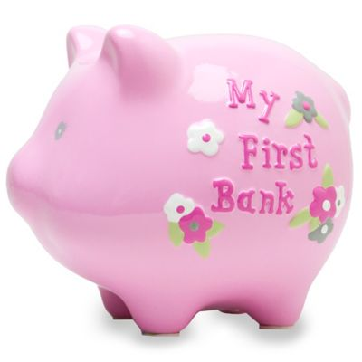 "AD Sutton ""My First Bank"" Piggy Bank in Pink"