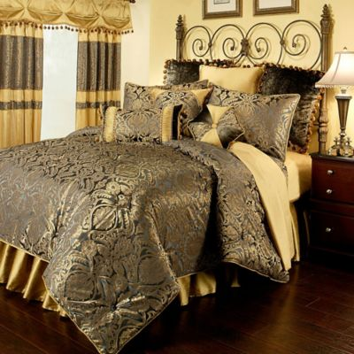 Gold Blue Comforter Sets