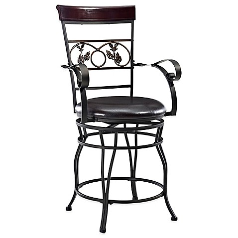 Powell Big Amp Tall Scroll With Leaves Counter Stool With