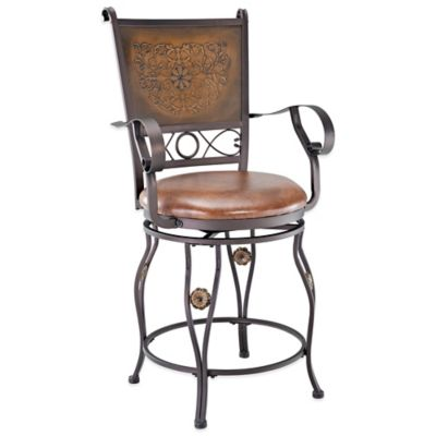 Powell Powell Big & Tall Copper Stamped Back Counter Stool with Arms