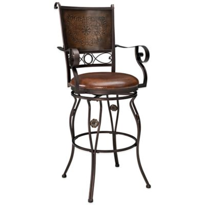 Powell Big & Tall Copper Stamped Back Barstool with Arms