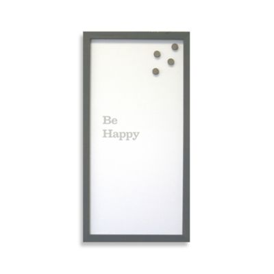 """Be Happy"" Framed Canvas Magnet Board"