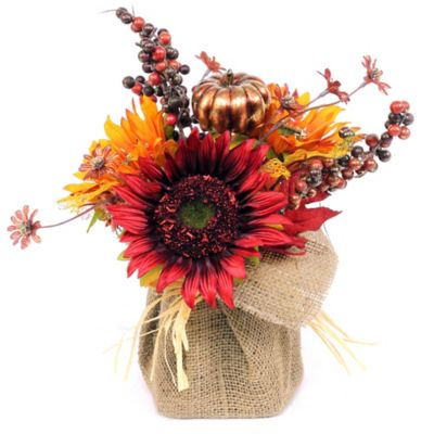 Autumnal Potter Burlap Floral Arrangement