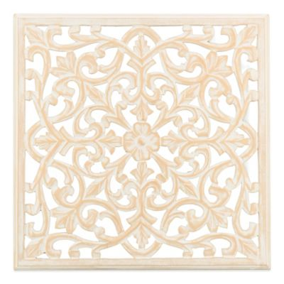 Moroccan Inspired Square Wood Carved Wall Panel