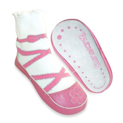 Bubysums Size 5 Baby/Toddler 2-in-1 Soft Sole Shoe and Sock in Ballet Pink/White