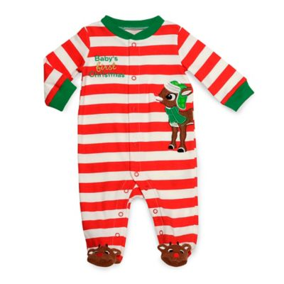 Baby's First Christmas with Rudolph Footie in Red Stripes