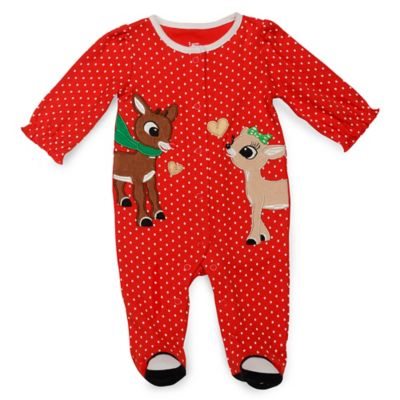 Rudolph and Clarice Footie in Red/White Dot