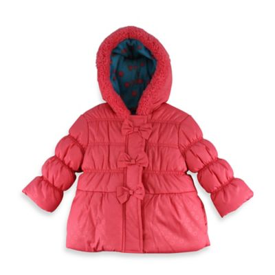 Pink Platinum Hooded Puffer Bow Jacket in Pink