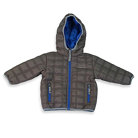 rugged bear quilted faux down puffer jacket in charcoal. Black Bedroom Furniture Sets. Home Design Ideas