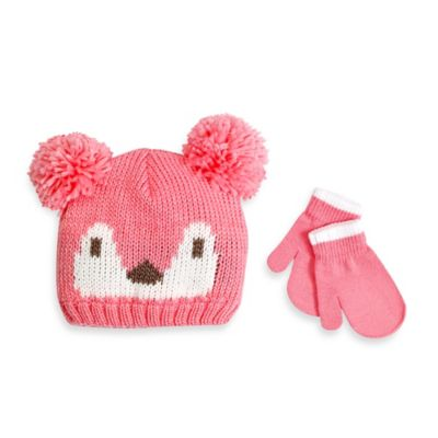 Rising Star Toddler Fox Hat and Mitten Set