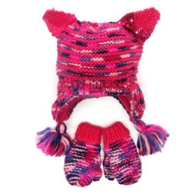 Toby N.Y.C. Toddler Critter Bow Hat and Mitten Set