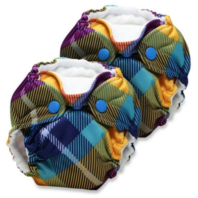 Kanga Care Lil Joey Newborn 2-Pack All-In-One Cloth Diaper in Preppy Plaid