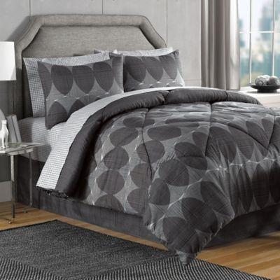Danbury King Comforter Set in Black/Grey