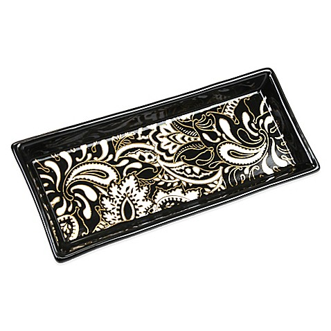 Buy modern alchemy ceramic tray in black white from bed for White ceramic bathroom tray