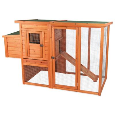 Trixie 2-Story Flat Roof Chicken Coop with Outdoor Run in Brown