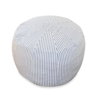 Oliver B Pouf/Ottoman in Blue Stripes