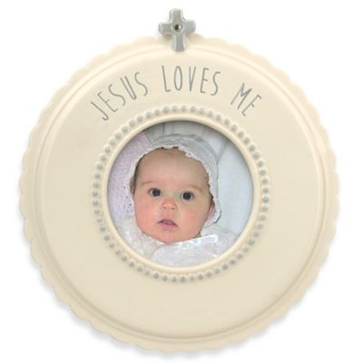 "Grasslands Road® ""Jesus Loves Me"" Round Photo Frame"