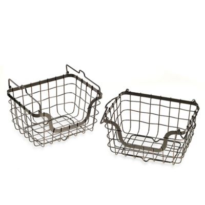 Mesa Orchard Collection Square Stacking Storage Basket (Set of 2)