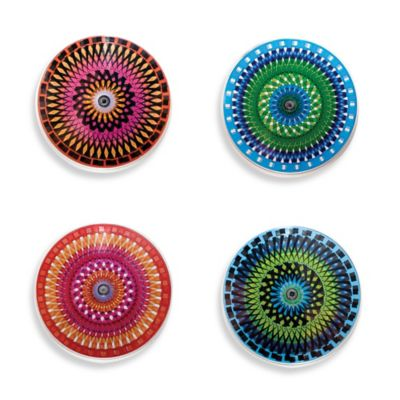 Kikkerland® Design Color Moire Coasters (Set of 4)