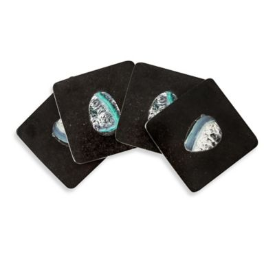 Thirstystone Square Black Marble and Blue Agate Coasters (Set of 4)