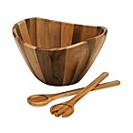 Lipper International 3-Piece Acacia Wave Bowl with Servers