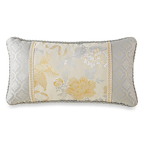 Waterford Linens Eveleen Gold Floral Oblong Throw Pillow - Bed Bath & Beyond