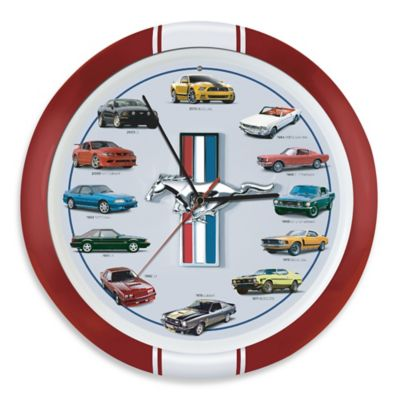 History of Mustang 13-Inch Clock in Red Frame