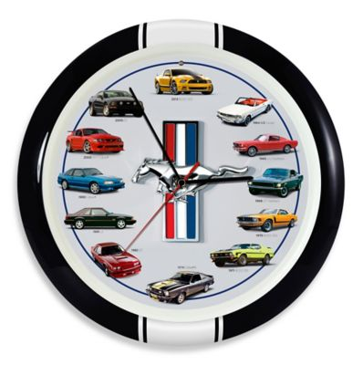 History of Mustang 8-Inch Clock in Black Frame