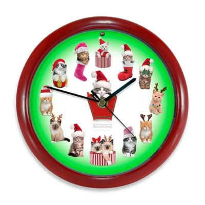 Christmas Kitty Clock