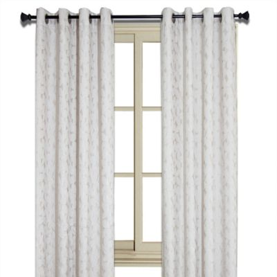 Simone 95-Inch Jacquard Leaf Room-Darkening Window Curtain Panel in Mink