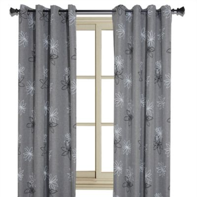 Crawford 95-Inch Floral Print Room-Darkening Window Curtain Panel in Graphite