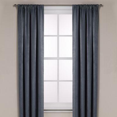 Diamond Texture Rod Pocket Room Darkening 108-Inch Window Curtain Panel in Slate