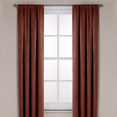 Diamond Texture Rod Pocket Room Darkening 108-Inch Window Curtain Panel in Rust
