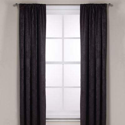 Diamond Texture Rod Pocket Room Darkening 108-Inch Window Curtain Panel in Black