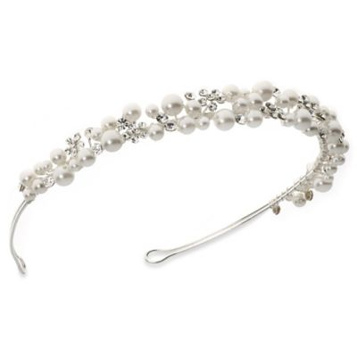 Scattered Simulated Pearl and Rhinestone Bridal Headband