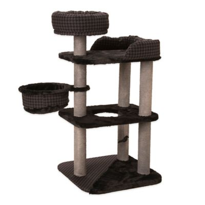 "52"" Cat Playset with Houndstooth Fabric in Black/Grey"