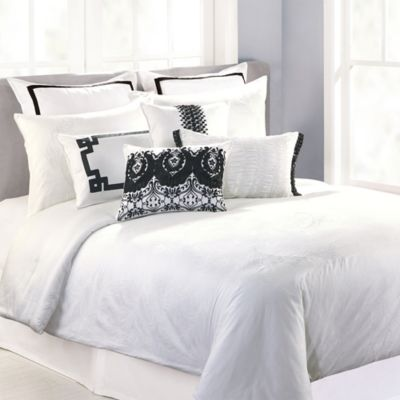 Nanette Lepore Villa Peacock 3-Piece Duvet Cover Set in White