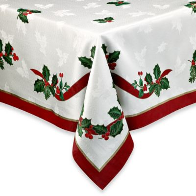 Holiday Ribbon Damask 60-Inch x 84-Inch Tablecloth