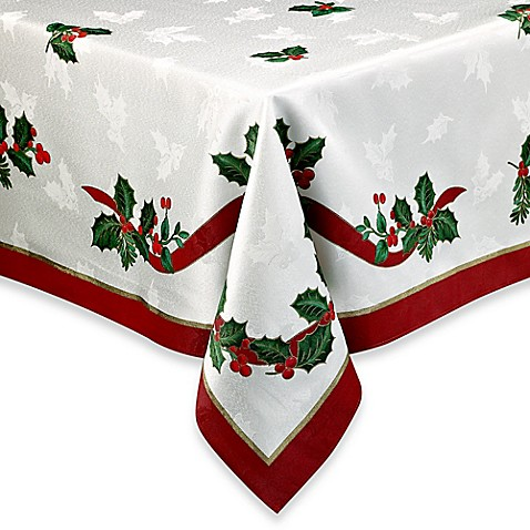 Holiday Ribbon Damask Tablecloth Www Bedbathandbeyond Com