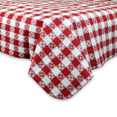 Checkered 60-Inch Round PEVA Tablecloth in Red