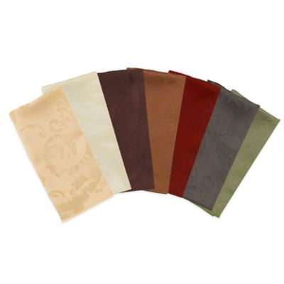 Autumn Scroll Damask Napkins in Bronze (Set of 4)