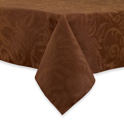 Autumn Scroll Damask 90-Inch Round Tablecloth in Gold