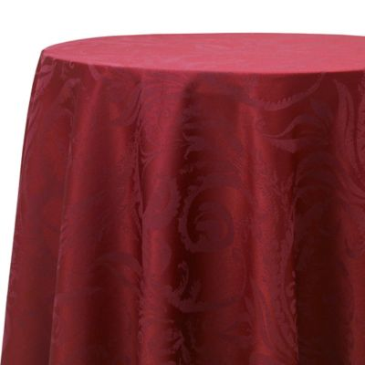 Autumn Scroll Damask 90-Inch Round Tablecloth in Wine