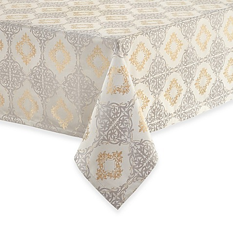 New waterford valentina tablecloth silver gold 52 x70 84 for Tablecloth 52 x 120