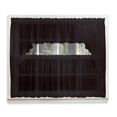 Emelia 14-Inch Sheer Window Valance in Black