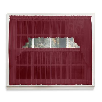Emelia 14-Inch Sheer Window Valance in Burgundy