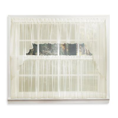 Emelia 14-Inch Sheer Window Valance in Ecru