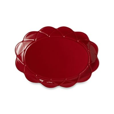 Meridian Red Decorated 17-Inch Large Oval Platter