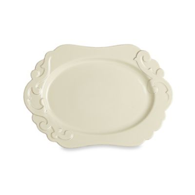 Casafine Arabesque 17.5-Inch Oval Platter in Cream